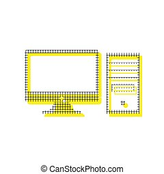 Computer sign illustration. Vector. Yellow icon with square patt