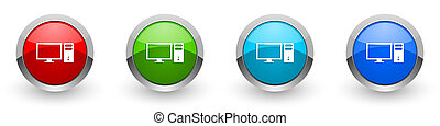Computer silver metallic glossy icons, monitor, screen, pc concept set of modern design buttons for web, internet and mobile applications in four colors options isolated on white background
