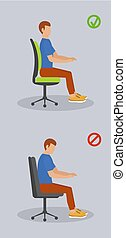 Computer sit position banner vertical, flat style