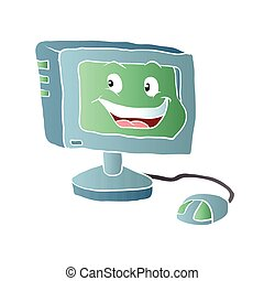 computer, smile.vector, illustratie