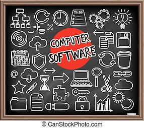 Computer Software set. Freehand doodle icons. Graphic...