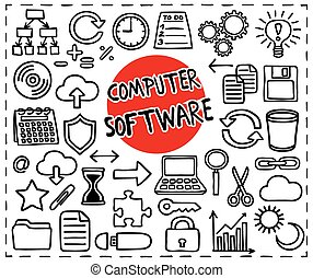 Computer Software set. Freehand doodle icons. Graphic ...