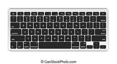 computer, sort, klaviatur