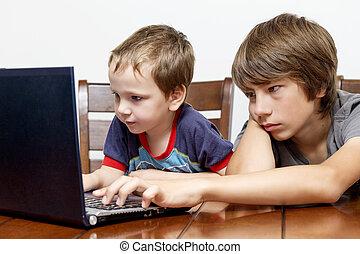 computer, spelend, broers, twee