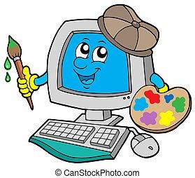 computer, spotprent, kunstenaar