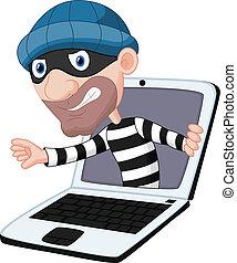 computer, spotprent, misdaad