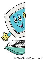 computer, spotprent, zich het verschuilen