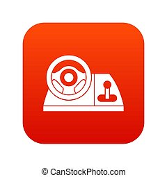 Computer steering wheel icon digital red