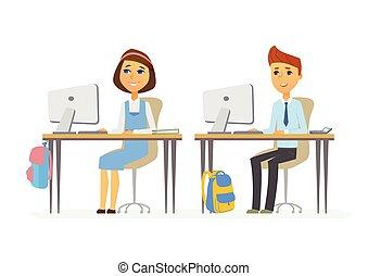 Computer studies - senior school children at the PCs