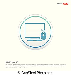 Computer System Icon - white circle button