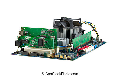 Computer system mainboard isolated on white
