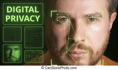 Computer system scanning face. Digital privacy related clip...