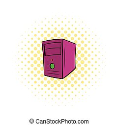 Computer system unit icon, comics style