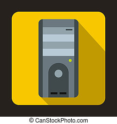Computer system unit icon, flat style