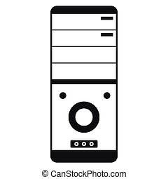 Computer system unit icon, simple style