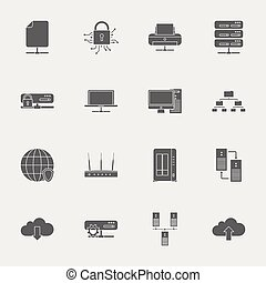 Computer Systems and Networks silhouettes icons set