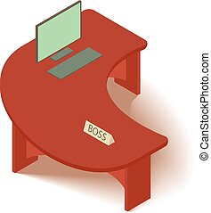 Computer table icon, isometric 3d style