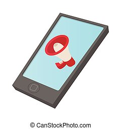 Computer tablet icon with megaphone on screen