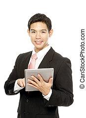 computer, tablet, man