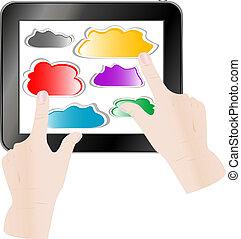 computer, tablet, påtrængende, hånd, pc., avis, sky