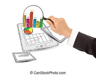 computer tablet showing a spreadsheet with  charts