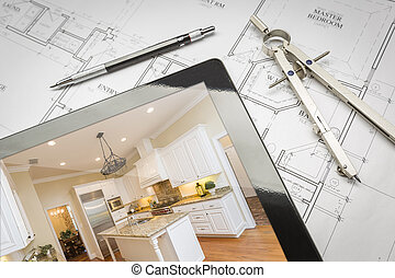 Computer Tablet Showing Finished Kitchen On House Plans, Pencil, Compass