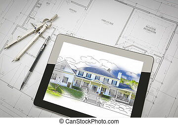 Computer Tablet Showing House Illustration On House Plans, Pencil, Compass