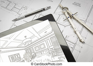 Computer Tablet Showing Room Illustration On House Plans, Pencil, Compass