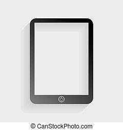 Computer tablet sign. Black paper with shadow on gray background.