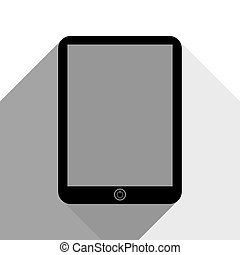 Computer tablet sign. Vector. Black icon with two flat gray shadows on white background.