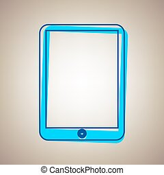 Computer tablet sign. Vector. Sky blue icon with defected blue contour on beige background.