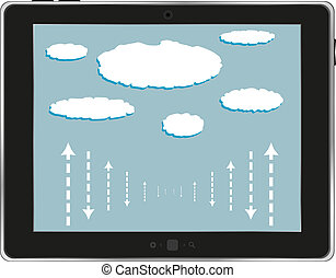 computer tablet with cloud isolated on white