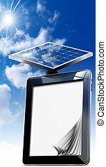 computer, tablet, zonnepaneel