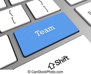 computer tastiera, parola, squadra