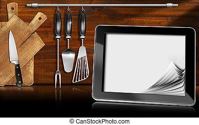 computer, tavoletta, cucina
