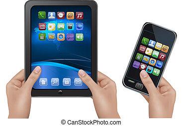 computer, tavoletta, illustrazione digitale, vettore, icons., tenere mani