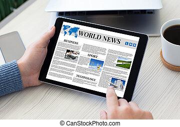 computer, tavoletta, telefono, quaderno, tenere mani, mondo, notizie, maschio, tavola