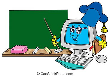 Computer teacher with blackboard - isolated illustration.