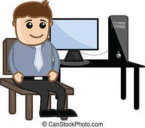 Computer Teacher with Computer - Drawing Art of Cartoon...