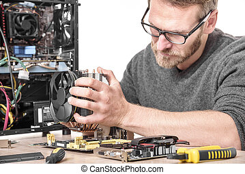 Computer technician installs cooling system. - Computer...