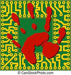 Computer technology fingerprinting - vector illustration