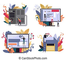Computer technology, web design and application development, programming icons