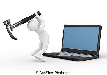 computer, tecnico, service., isolato, 3d, immagine
