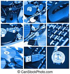 computer, tema, collage