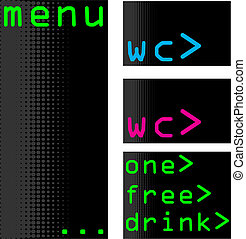 Computer themed bar menu and accessories