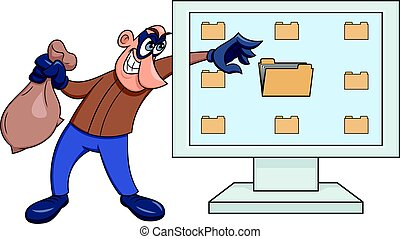 Illustration of the computer thief reaching computer data