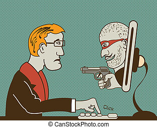 computer thief - Vector illustration of a masked man with...