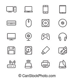 Computer thin icons - Simple vector icons. Clear and sharp....