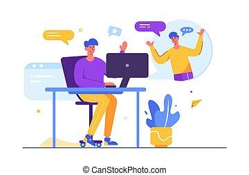 computer, tipi, wirelessly, attraverso, comunicare, due