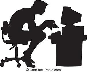 computer, tipo, silhouette